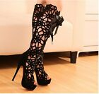 Womens Lace UP Platform Stiletto Club Boots High Heels Sandal Shoes US Size:4-9
