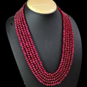 ATTRACTIVE-628-00-CTS-NATURAL-5-LINE-RED-RUBY-ROUND-BEADS-NECKLACE-GEM-EDH