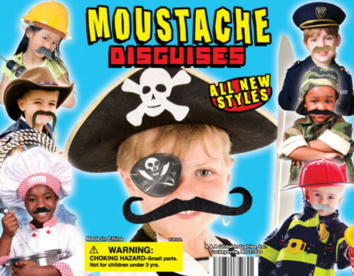 PARTY MUSTACHE DISGUISE CARNIVAL GOODY BAGS PINATAS 24 STICK ON MOUSTACHES