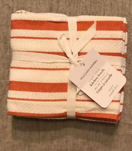 WIlliams-Sonoma-Dish-Towels-Classic-Stripe-Set-Of-4-Waffle-Weave-Pumpkin-NWT