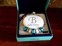 Bella Perlina Charm Bead Bracelet - Blue With Flowers -