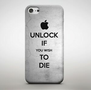 meet ed7b3 dc4c0 Details about Unlock If You Wish To Die Quote Silver Angry Threat Meme  Funny Phone Case Cover