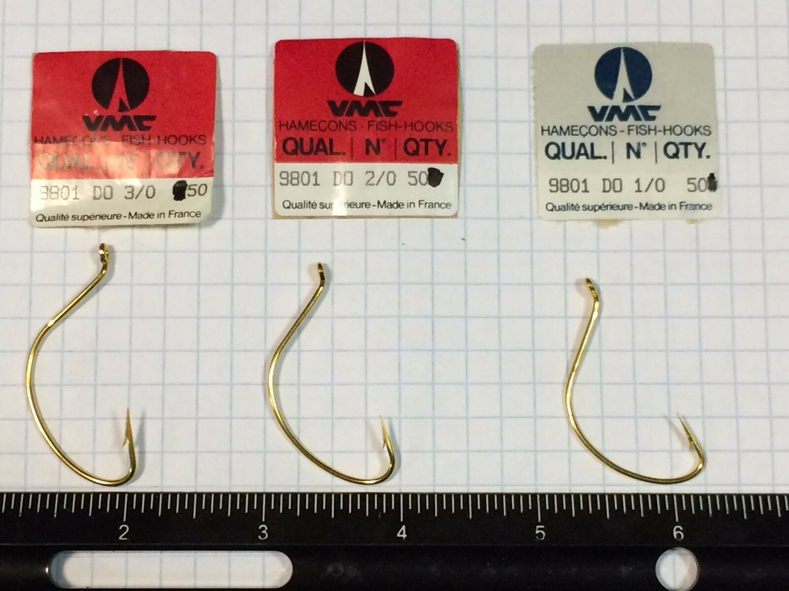 1000 count, VMC 9801 oro, wide gap, up eye hook 10, 20, or 30, pesca hooks