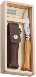 Coltello-Opinel-OP01004-No-8-Olive-Wood-with-Sheath-knife-messer-couteau-navaja