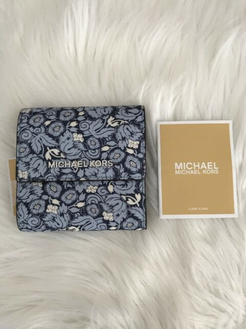 e09313ddda04 Nwt Michael Kors Jet Set Travel Trifold Small Wallet Floral Navy Blue $128  Gift