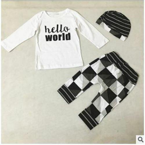 New Arrival European Style Newborn Baby Boy Girl ClothesThree Piece Suit Cap+Tro