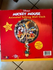 Disney Animated Talking Wall Clock Mickey Mouse, Donald, Goofy BRAND NEW in Box
