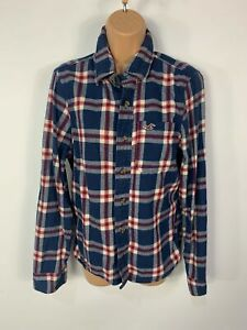 WOMENS-HOLLISTER-SIZE-SMALL-BLUE-CHECK-LONG-SLEEVE-CREW-NECK-SHIRT-BLOUSE-TOP