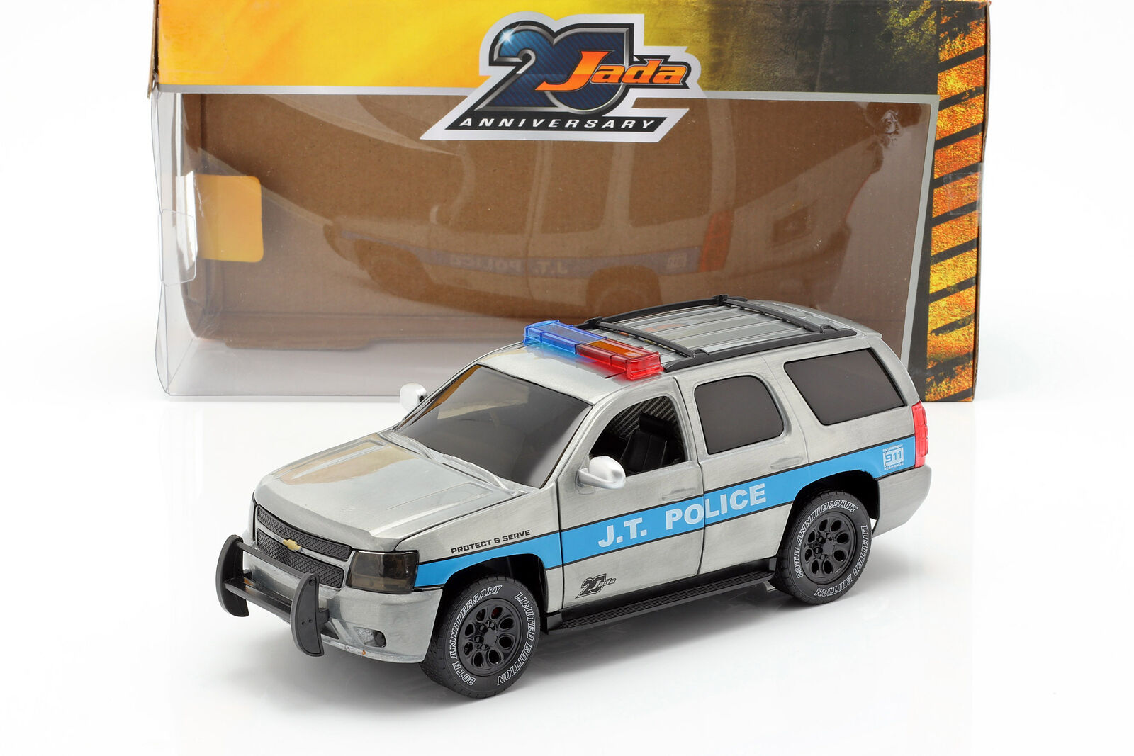 Chevy Tahoe J.T. Police Baujahr 2010 silvergrey   blue 1 24 Jada Toys