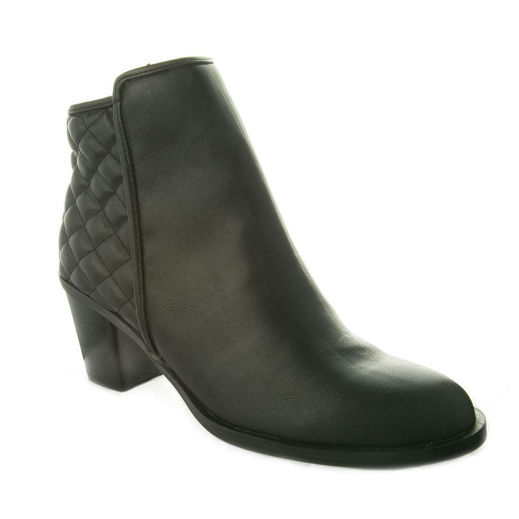 New Ladies Womens Black Ankle High Heel Boots with Quilted Pattern and Zip