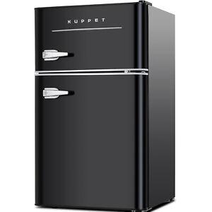 3.2 Cu.Ft Portable Mini Fridge 2-Door Compact Refrigerator Home Office Black