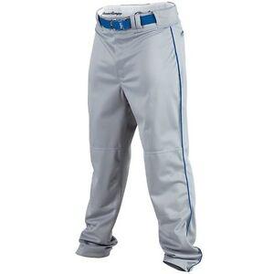 Rawlings Mens Relaxed Fit PP350MRP Piped Baseball Pant  Grey w/Royal Piping - S