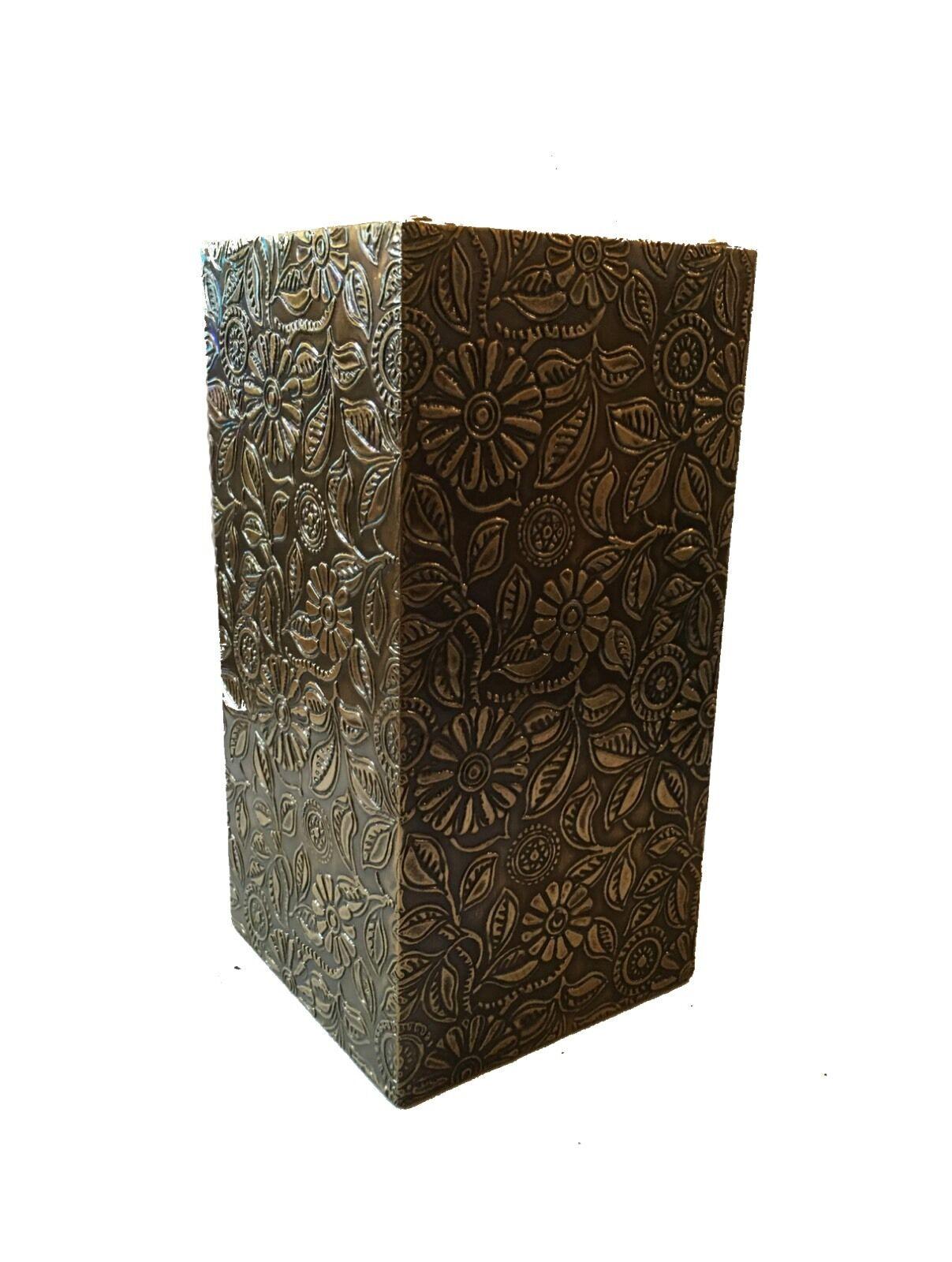 Indian Beautiful Decorative Handmade Wooden Brass Flower Pot Rectangular