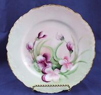Antique Rosenthal R & C Monbijou Porcelain Plate Bavaria Pink & Purple Pansies