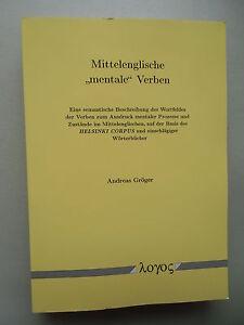 2019 Mode Mittelenglische Mentale Verben Semantische Beschreibung Des Wortfeldes .. 2001 Studium & Wissen Antiquarische Bücher