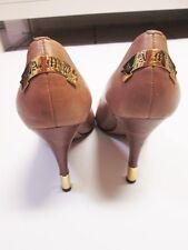 L.A.M.B Gwen Stefani classic pumps gold banner logo stiletto tips beige tan nude