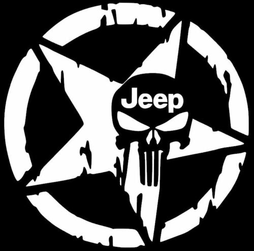 Jeep Star Skull Decal Vinyl Sticker Wrangler Rubicon Willy/'s 12 COLORS