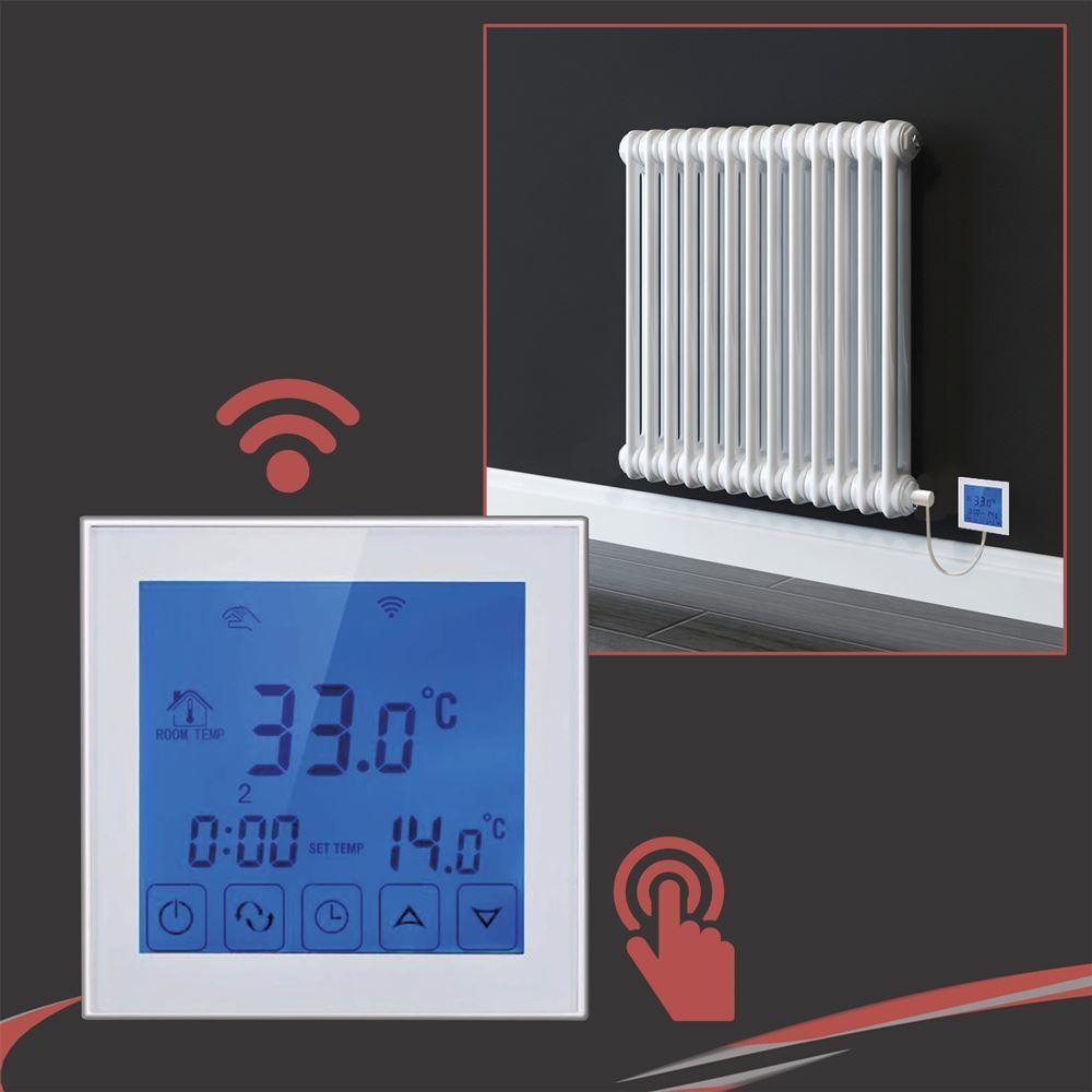 Blanc Wi-Fi écran Tactile Thermostat et Minuterie pour serviette électrique RAILS & RADIATEURS