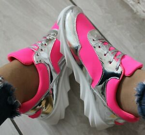 NEW WOMENS NEON PINK LACE UP FLAT TRAINERS PARTY COMFY SNEAKERS PLIMSOLLS SHOES