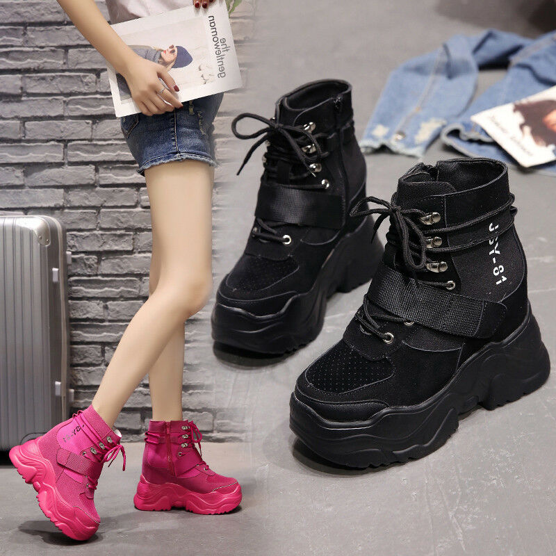 Womens Ankle Boots Solid color Mid-high Heels Wedge Platform Sport Casual C835