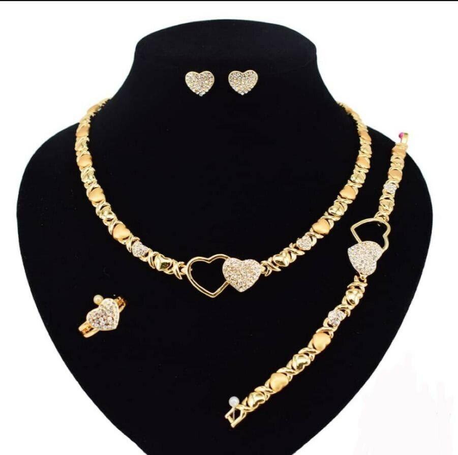 "HUGS & KISSES Necklace With Bracelet 18"" Xo Earrings & Ring 18k Layered"