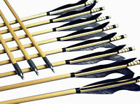 12x China Archery Arrows Wooden Shaft Black Flame Feather Fletched Hunter Target
