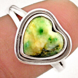 5.06cts Solitaire Natural White Tree Agate Heart 925 Silver Ring Size 8.5 T41663