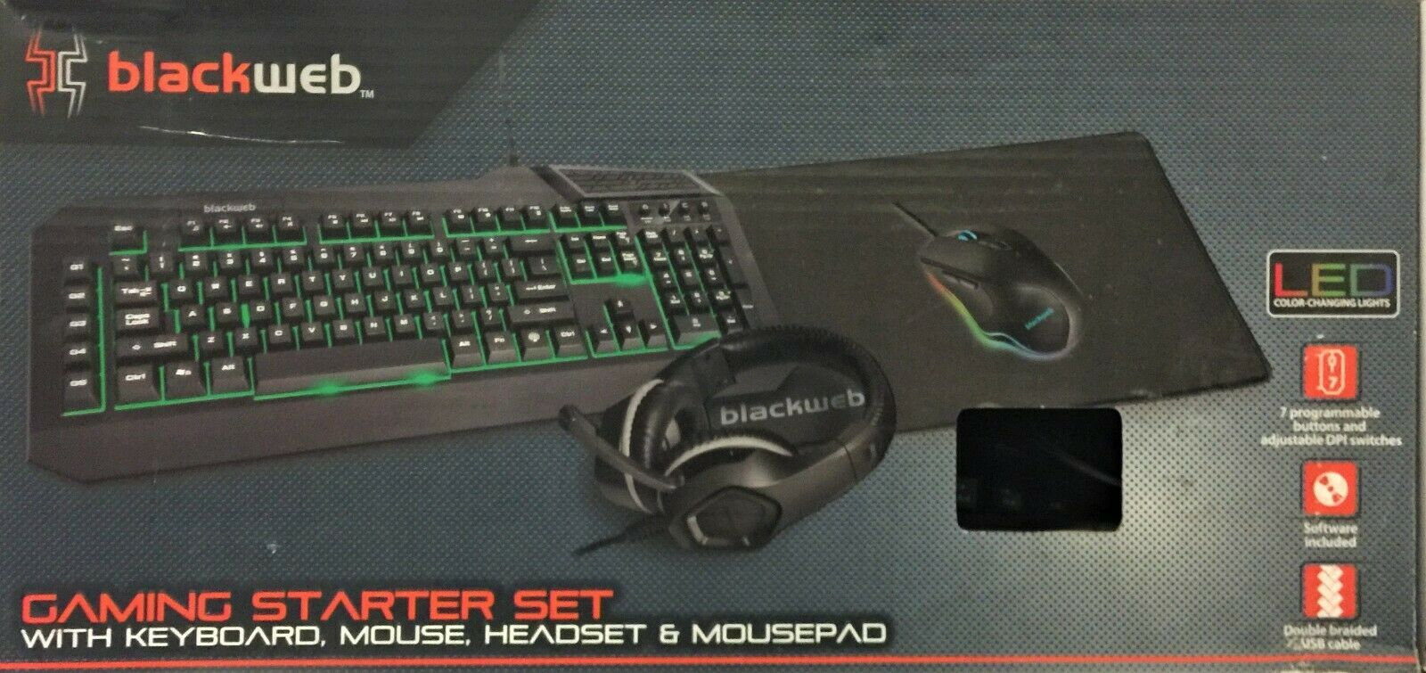 Blackweb Gaming Starter Kit with Keyboard, Mouse, Mousepad & Headset, BWA19H0004
