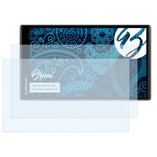 Bruni 2x Folie für Garmin Camper 780 Schutzfolie Displayschutzfolie