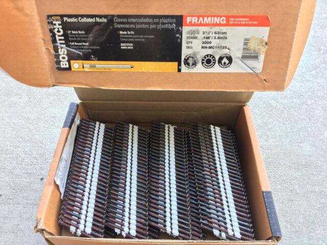 "Bostitch 2-1//2/"" x .148/"" Framing Nails Plastic Collated RH MC14825 3000"