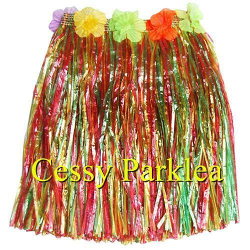 Girls Hawaiian Hula Luau Grass Skirt Floral Waist Band Multi-Colours 40Cm