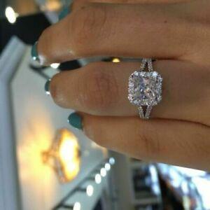 Engagement-Wedding-Ring-Solid-10k-White-Gold-2-20ct-Princess-amp-Round-Cut-Diamond