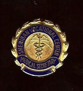 old-GoldFilled-MEDICAL-SECRETARY-Badge-Pin-hallmarked-Sheridan-Vocational-center