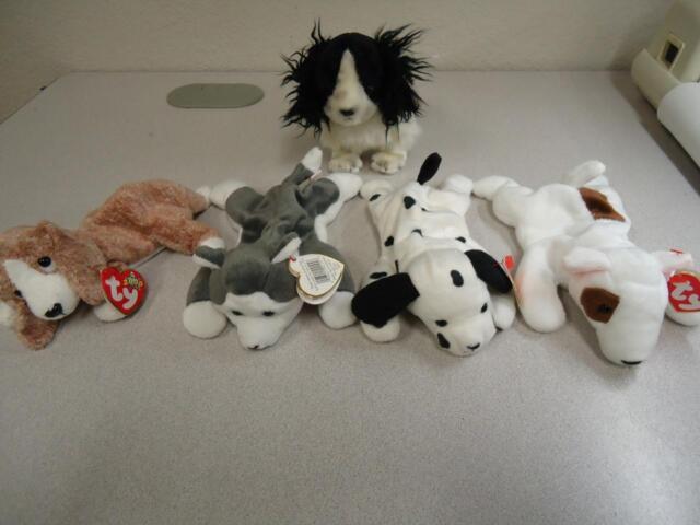 Ty Beanie Baby Dogs Butch 1998 Dotty Nanook 1996 Frolic 2001 Sniffer Lot of 5