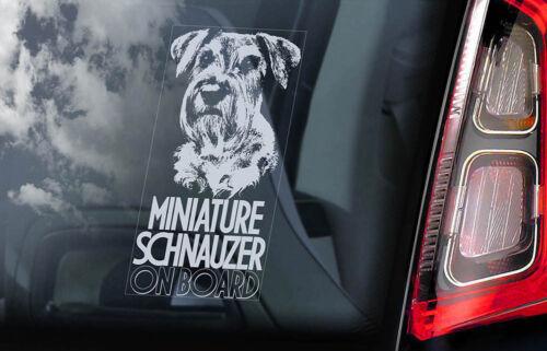 Miniature Schnauzer on Board V05 Car Window Sticker Zwerg Dog Sign Decal