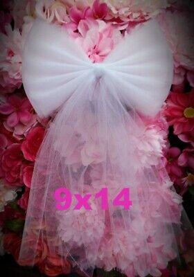 SET//10 Wedding Pew Bows Tulle Pew Bow Aisle Decor Ivory Wedding Bows Aisle Decor