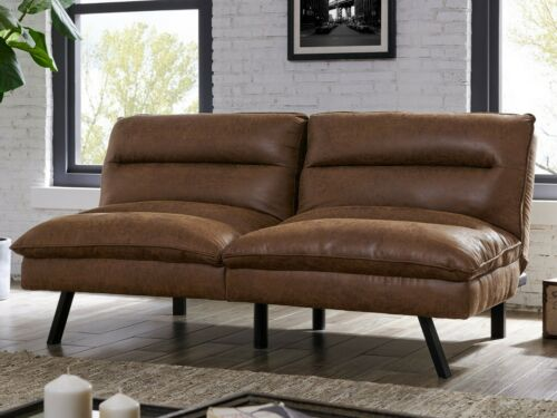 Home Garden Air Leather Sofa Bed, Brown Fabric Leather Sofa Bed