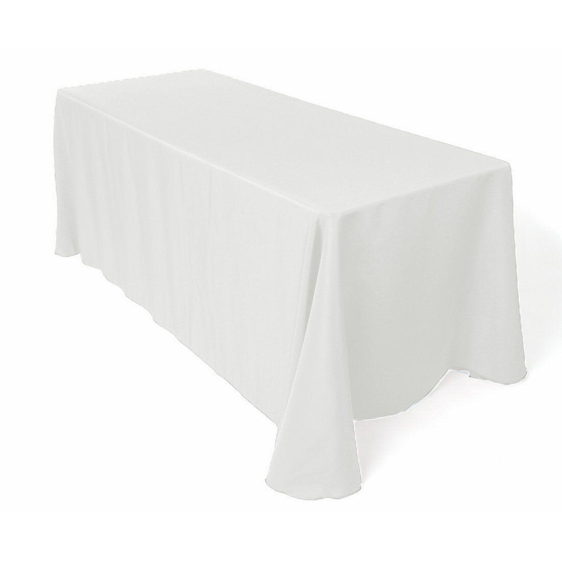 10 Pcs 60  x 102  blanc Rectangle Polyester Tablecloth Bulk for Weddings Party