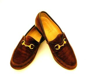 88cb230c29c GUCCI Women s 7AA Vintage Horsebit Loafers Brown Suede Leather Soles ...