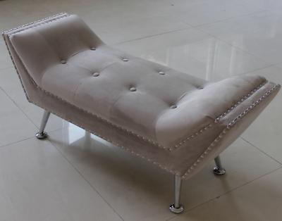 Bedford chaise bench grigio chiaro argento velluto dettaglio borchie