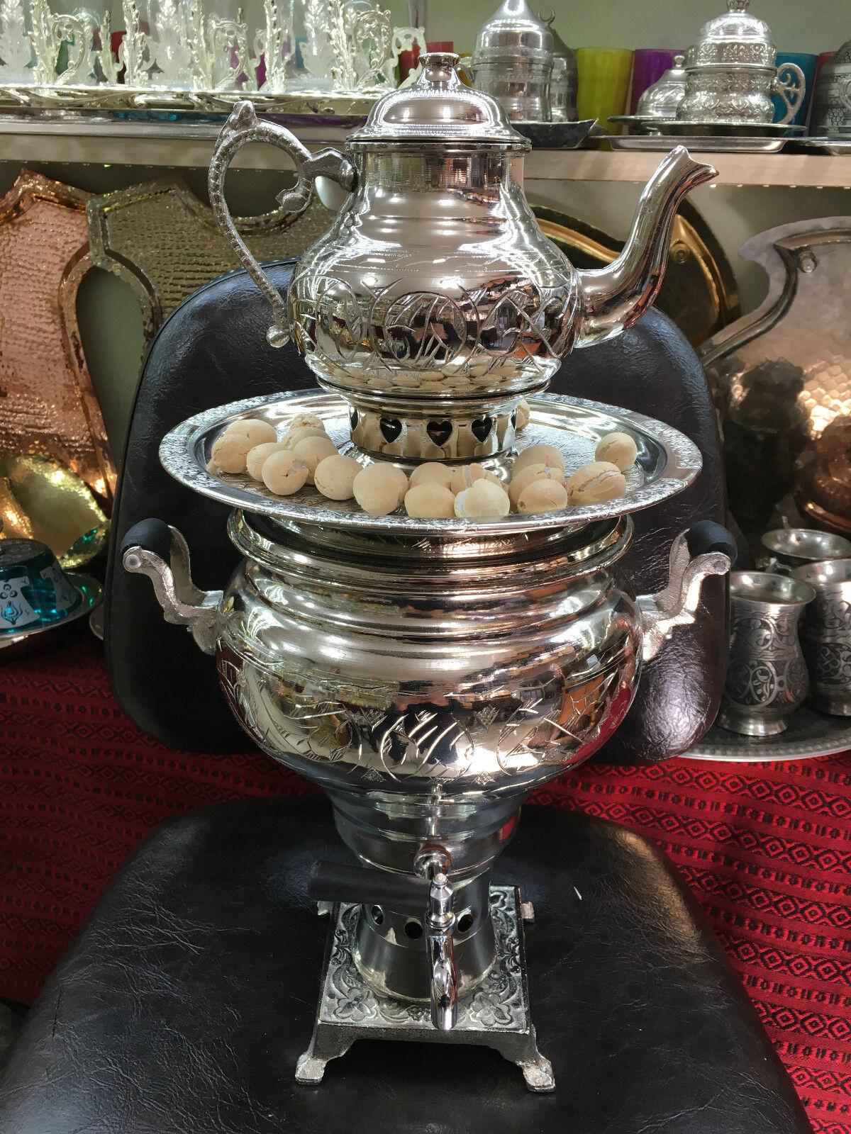 Authentic Turc fait main artisanale cuivre Charbon Samovar semaver Théière