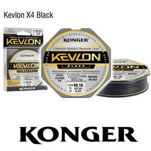 0-06-m-150m-KONGER-KEVLON-X4-BLACK-GEFLOCHTENE-SCHNUR-ANGELSCHNUR-0-06-0-20mm