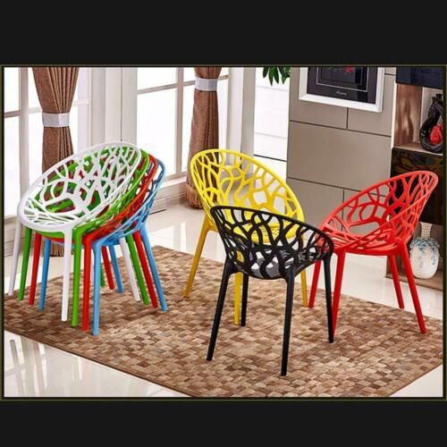 Set of 4 Bird Nest Black White Modern Master Dining Chair Garden Patio Stackable