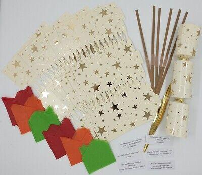 12 x Make Your Own Christmas Cracker Kit Makes  Crackers Hats Snaps Jokes Gold