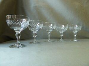 5-Antique-Edwardian-Cut-Crystal-Champagne-Glasses
