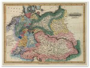 Map Of Germany To Color.Details About Elegant Color Political Map Of Old Germany By Fielding Atlas Circa 1823 18 X24