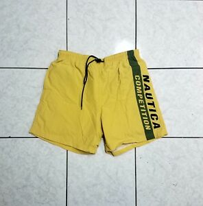 Vintage 90s Nautica Competition Mens Medium Spell Out Swim Trunks Shorts Gray