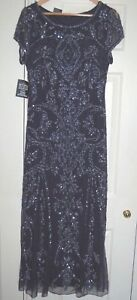 New-14-Nvy-Blue-Sequin-amp-Bead-Embellished-Net-layered-Maxi-53-inch-Dress-Flapper