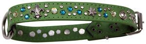 Strass en cuir de collier de collier de chien de mémoire occidentale Swarovski Elements S / H022