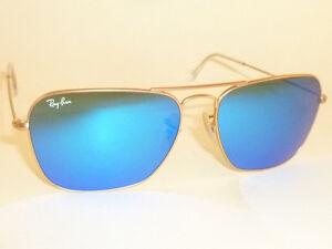 06f43d80b05 New RAY BAN Caravan Sunglasses Matte Gold Frame RB 3136 112 17 Blue ...